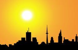 Stadt-Skyline am Morgen - Vektor Lizenzfreie Stockfotos
