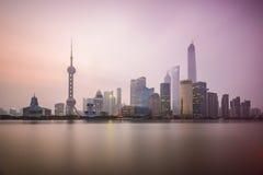 Stadt-Skyline Shanghais, China Lizenzfreies Stockbild