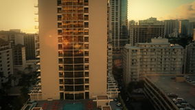 Stadt-Skyline-Sonnenuntergang Waikiki, Hawaii stock video footage