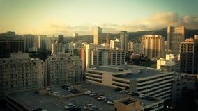 Stadt-Skyline-Sonnenuntergang Waikiki, Hawaii stock footage