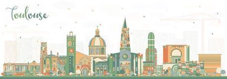Stadt-Skyline Toulouse Frankreich mit Farbgebäuden vektor abbildung