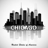 Stadt-Skylineschattenbild Chicagos Illinois Typografischer Entwurf Lizenzfreies Stockfoto
