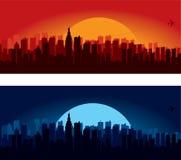 Stadt-Skylineschattenbilder Stockbilder