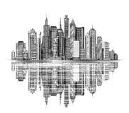 Stadt-Skylineschattenbildvektor Städtische Landschaft lizenzfreie abbildung