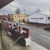 Stadt-smalltown Weihnachtsoldtime Speicher Lizenzfreies Stockbild