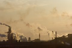 Stadt-Smog Stockfoto