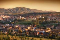 Stadt am Sonnenuntergang Stockbild