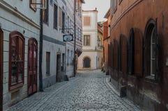 Stadt am sonnigen Tag, Cesky Krumlov, Tschechische Republik lizenzfreies stockfoto