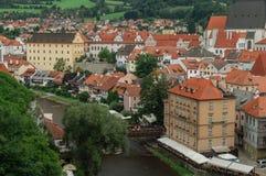 Stadt am sonnigen Tag, Cesky Krumlov, Tschechische Republik lizenzfreie stockfotos