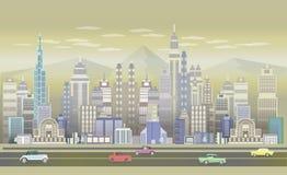 Stadt-Spiel-Hintergründe mit Retro- Autos, 2d Spielanwendung Stockbild