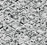 Stadt-städtische Block-isometrisches nahtloses Muster - groß lizenzfreie abbildung