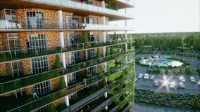 Stadt, Stadt-Architektur-Sichtbarmachung 3d Schattenbild des kauernden Geschäftsmannes Realistische Animation 4K lizenzfreie abbildung