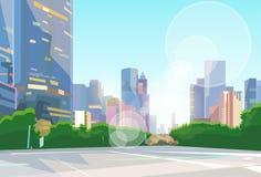 Stadt-Straßen-Wolkenkratzer-Ansicht-Stadtbild-Vektor Stockbilder