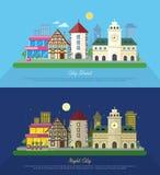 Stadt-Straßen-Vektor-Illustration an Tag und Nacht Lizenzfreie Stockbilder