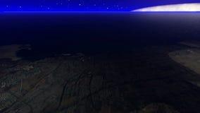 Stadt umgeben durch den Ozean vom Himmel nachts lizenzfreie abbildung