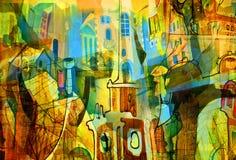 Stadt und Auszug und Zeichnung und Architektur Stockfoto
