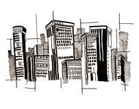 Stadt und Auszug und Zeichnung und Architektur Stockbilder
