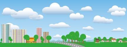 Stadt und Dorf gestalten in der Natur an einem sonnigen Tag landschaftlich Lizenzfreies Stockbild