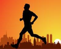 Stadt und ein laufender Mann Stockbilder