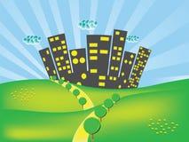 Stadt und Felder lizenzfreie abbildung