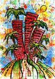 Stadt und Haube und Zeichnung und Architektur, Lizenzfreie Stockbilder