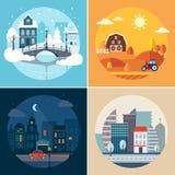 Stadt-und Land-Landschaften lizenzfreie abbildung