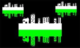 Stadt und reflektierte Stadt Lizenzfreie Stockfotos