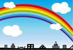 Stadt und Regenbogen Lizenzfreie Stockbilder