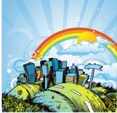 Stadt und Regenbogen stock abbildung