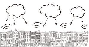 Stadt und Wolken Stockfoto