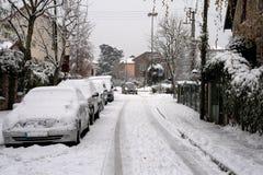 Stadt unter dem Schnee Lizenzfreie Stockfotos
