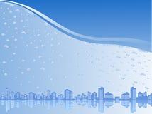 Stadt unter Wasser Stock Abbildung