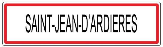 Stadt-Verkehrszeichenillustration Heilig-Jeans d Ardieres in Frankreich Stockbild