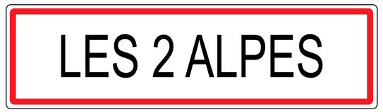 Stadt-Verkehrszeichenillustration Les 2 Alpes in Frankreich Stockbilder