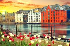Stadt von Aalesund Lizenzfreies Stockfoto