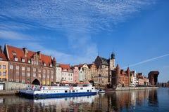 Stadt von alten Stadtskylinen Gdansks in Polen Lizenzfreie Stockfotos