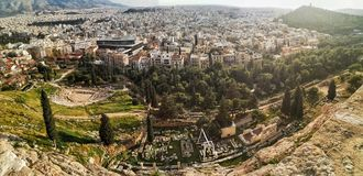 Stadt von Athen, Panoramablick von der Akropolise lizenzfreie stockbilder