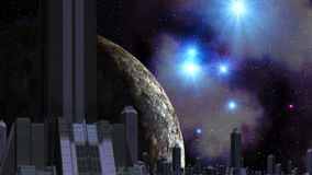 Stadt von Ausländern, von enormem Planeten und von UFO vektor abbildung