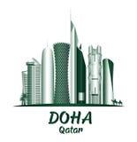 Stadt von berühmten Gebäuden Dohas Katar lizenzfreie abbildung