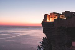 Stadt von Bonifacio, Korsika-Insel, Frankreich stockbild