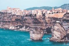 Stadt von Bonifacio, Korsika-Insel, Frankreich Stockbilder