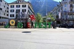 Stadt von Briga in der Schweiz Stockfotografie