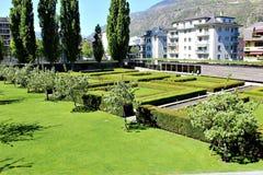 Stadt von Briga in der Schweiz Stockfotos