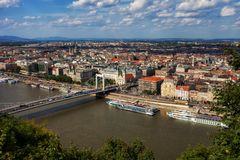 Stadt von Budapest von oben stockbild