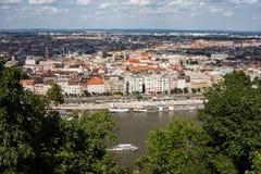 Stadt von Budapest-Stadtbild von Gellert-Hügel stockfotografie