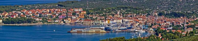 Stadt von Cres - panoramische Ansicht Lizenzfreie Stockfotografie