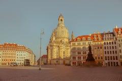 Stadt von Dresden Historische Mitte Herbstabend in Dresden stockfotografie