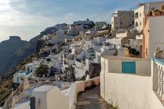 Stadt von Fira, Santorini, Thira, die Kykladen-Inseln Stockfotografie