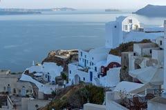 Stadt von Fira, Santorini, Tira Island, die Kykladen Stockfotografie