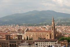 Stadt von Florenz-Panoramablick Basilika von Santa Croce in Florenz lizenzfreies stockfoto
